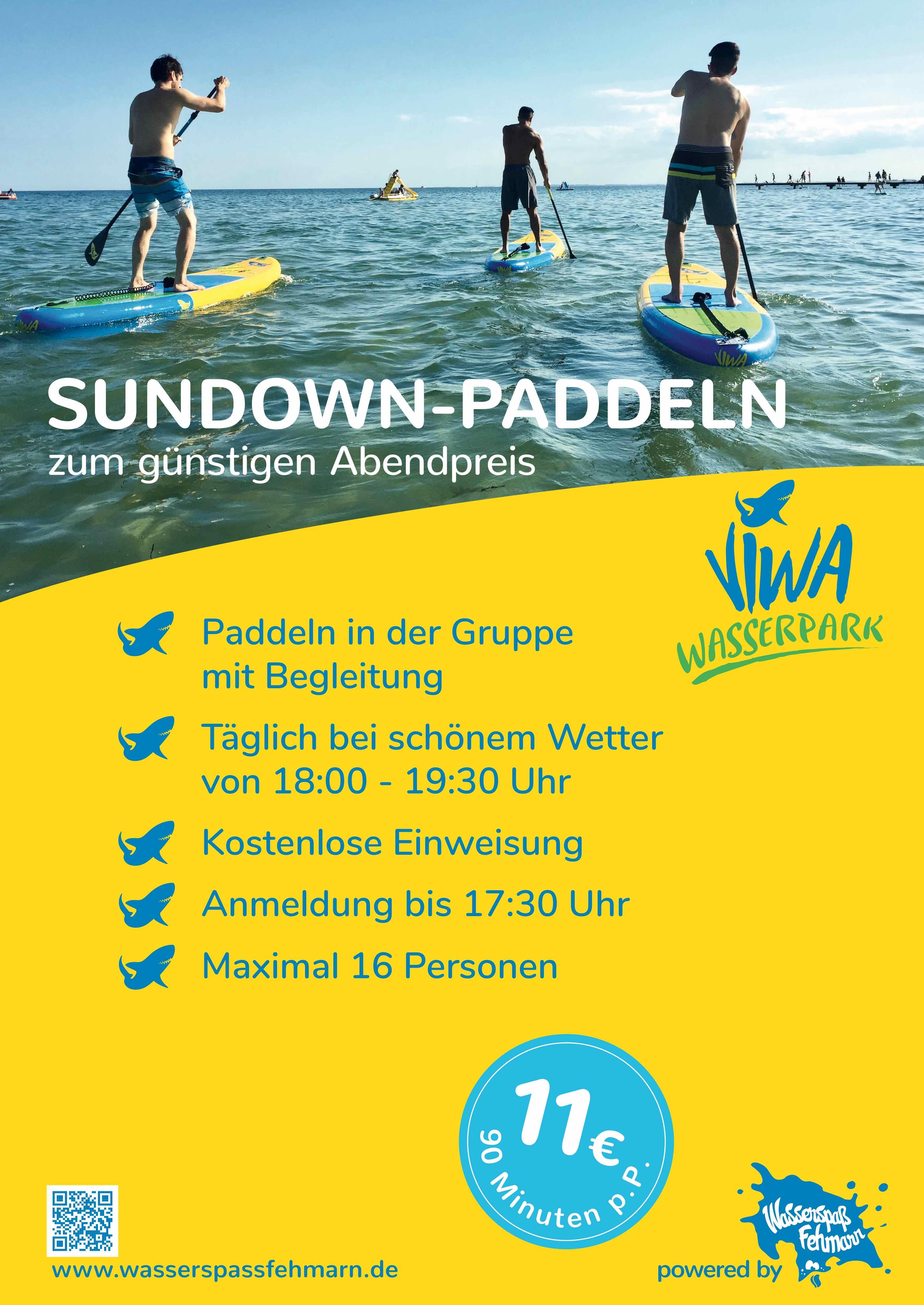 Sundown paddeln Sonderangebote Fehmarn Südstrand SUP Tretboote Wasserpark